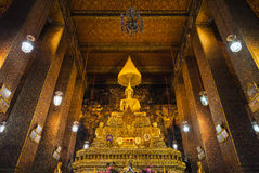 Sitting Buddha Gold Statue in Buddhist Temple. Wat Pho Stock Photography