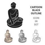 Sitting Buddha icon in cartoon style isolated on white background. South Korea symbol stock vector illustration. stock illustration