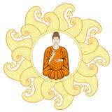 Sitting Buddha in Lotus pose in waves mandala, teaching Buddhism Royalty Free Stock Photography