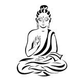 Sitting Buddha 1. Buddha in the lotus position. Black outlines isolated on white. Vintage Vector. decorative elements stock illustration