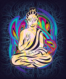 Sitting Buddha 2. Buddha sitting in the lotus position on a psychedelic background. A poster for a party, printing on T-shirts, greeting cards or invitations Royalty Free Stock Images