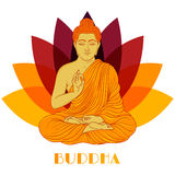 Sitting Buddha over lotus flower background. Hand drawn vector Stock Photography