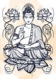 Sitting Buddha over lotus flowers. Hand-drawn beautiful vector art, graphic illustration . Grange watercolor background