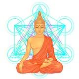 Sitting Buddha over sacred geometry. Esoteric vintage colorful v. Ector illustration isolated on white. Indian, Buddhism, spiritual art. Hippie tattoo stock illustration