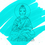 Sitting Buddha over watercolor background. Vector illustration. Vintage decorative composition. Indian, Buddhism, Spiritual motifs Royalty Free Stock Photo