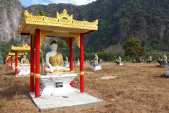Sitting Buddha park, reliquary in Myanmar Stock Images