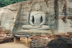 Sitting Buddha in Polonnaruwa,Ceylon Royalty Free Stock Images