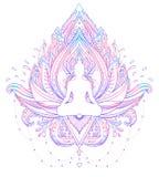 Sitting Buddha silhouette over ornamental Lotus flower. Esoteric. Vector illustration. Vintage decorative, Indian, Buddhism, spiritual art. Hippie tattoo royalty free illustration