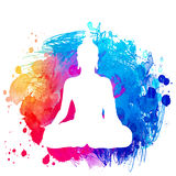 Sitting Buddha silhouette over watercolor background. Vector ill. Ustration. Vintage decorative composition. Indian, Buddhism, Spiritual motifs. Tattoo, yoga royalty free illustration