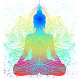 Sitting Buddha silhouette. Vintage decorative vector illustration. Hand drawn mandala. Mehenidi ornate decorative style. Yoga stu. Dio, Indian, Buddhism stock illustration