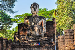 Sitting Buddha statue in Si Satchanalai, Thailand Royalty Free Stock Photography