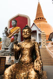 Sitting Buddha statue in Thai Buddhist Temple, the tallest and biggest stupa, pagoda in the world. Stock Image
