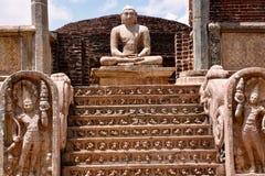 Sitting Buddha up steps at Polonnaruwa stock photos