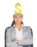 Sitting businesslady with dollar sign Stock Photography