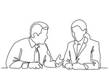 Sitting businessman and business woman discussing work process - continuous line drawing. Linear vector illustration stock illustration