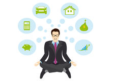 Sitting Businessman vector. Businessman meditating on a white background. Planning businessman with ideas Stock Image