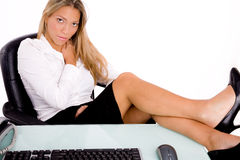 Sitting Businesswoman Looking At Camera Royalty Free Stock Photos