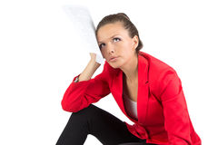Sitting businesswoman looking up Stock Image