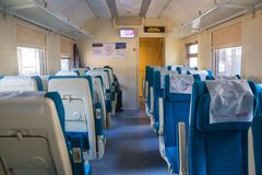 Sitting car one-storey trains of Russian Railways Stock Images