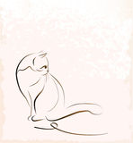Sitting cat. Outline illustration of sitting cat Stock Photography