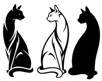 Sitting cat vector. Elegant sitting cats design - black and white outlines and silhouette