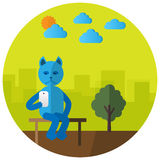Sitting cat with mobile phone. Selfish cat sitting on the bench. Flat style Stock Photos