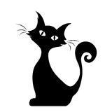 Sitting cat. Vector black silhouette. Royalty Free Stock Photo