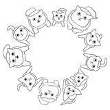 Sitting cats looking circle. Sitting cats looking up in circle, without colors royalty free illustration
