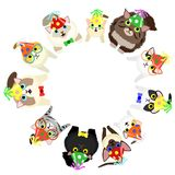 Sitting cats with party hats looking up circle. Sitting cats with party hats looking up in circle vector illustration