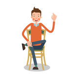 Мan sitting on chair with his legs crossed. Мan sitting with his legs crossed and attracts attention by raising his hand upwards. Illustration in flat style Stock Photos