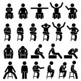 Sitting on Chair Poses Postures Human Man People Stick Figure Stickman Pictogram Icons. Stickman person posing in various sitting on a chair postures Stock Images