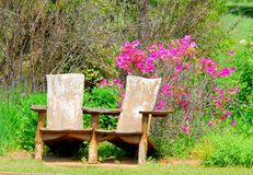 Sitting chairs in the Botanical Garden stock photos