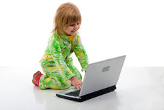 Sitting Child Girl And Notebook. Royalty Free Stock Image