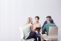 Sitting in the circle. During group therapy people are sitting in the circle royalty free stock photography
