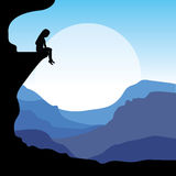Sitting on a cliff, Vector illustrations Stock Photos