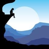 Sitting on a cliff, Vector illustrations. Vector vector illustration