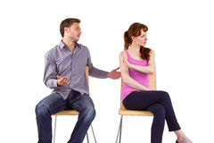 Sitting couple having an argument Stock Images