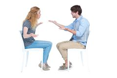 Sitting couple having an argument Royalty Free Stock Images
