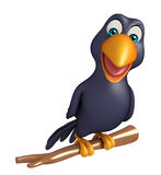Sitting Crow cartoon character Royalty Free Stock Photo