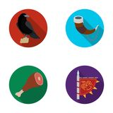 Sitting crow, horn with drink, ham, victory flag. Vikings set collection icons in flat style vector symbol stock. Illustration Royalty Free Stock Photography