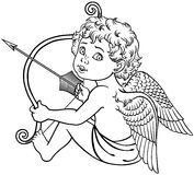 Sitting cupid black and white. Cartoon little angel cupid sitting and holding a bow with arrow. Black and white outline vector stock illustration