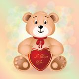 Sitting Cute Bear toy with red bow.. Royalty Free Stock Images