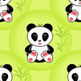 Sitting cute little panda bamboo illustration background Royalty Free Stock Photos