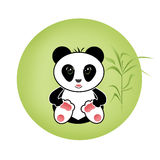 Sitting cute little panda bamboo illustration background Stock Photography