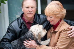 Sitting with the dog. Happy retired couple embracing one another retired couple sitting with their dog Stock Photography