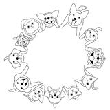 Sitting dogs and cats looking up circle. Line art vector illustration