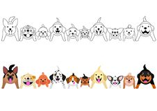 Sitting dogs looking up border set. With and without colors stock illustration