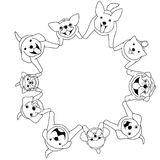 Sitting dogs looking up circle. Sitting dogs looking up in circle, witht colors stock illustration