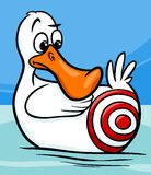 Sitting duck saying cartoon illustration. Cartoon Humor Concept Illustration of Sitting Duck Saying or Proverb Stock Photos