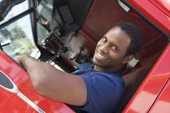 sitting för brandman för cabmotorbrand Royaltyfri Fotografi